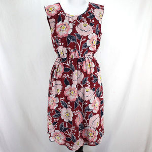 LOFT Outlet Sleeveless Dress Maroon Blue Floral M